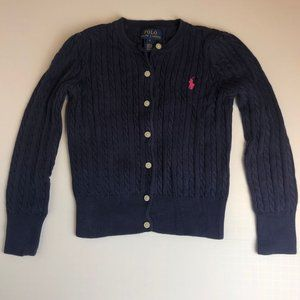 Ralph Lauren Thick Cable Knit Girl's Sweater Cardigan Age 6 Years